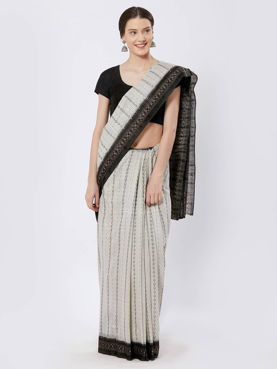 CraftsCollection.in - Black and White Sambalpuri Cotton Saree