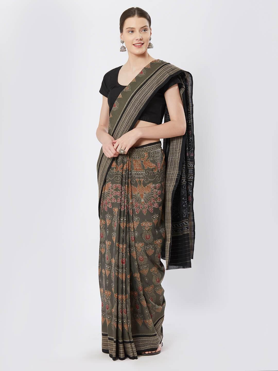 CraftsCollection.in - Green Sambalpuri Double Ikat Cotton Saree