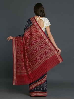CraftsCollection.in - Blue Red Sambalpuri Bomkai Cotton Saree