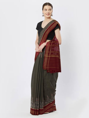 CraftsCollection.in - Green Sambalpuri Cotton Saree