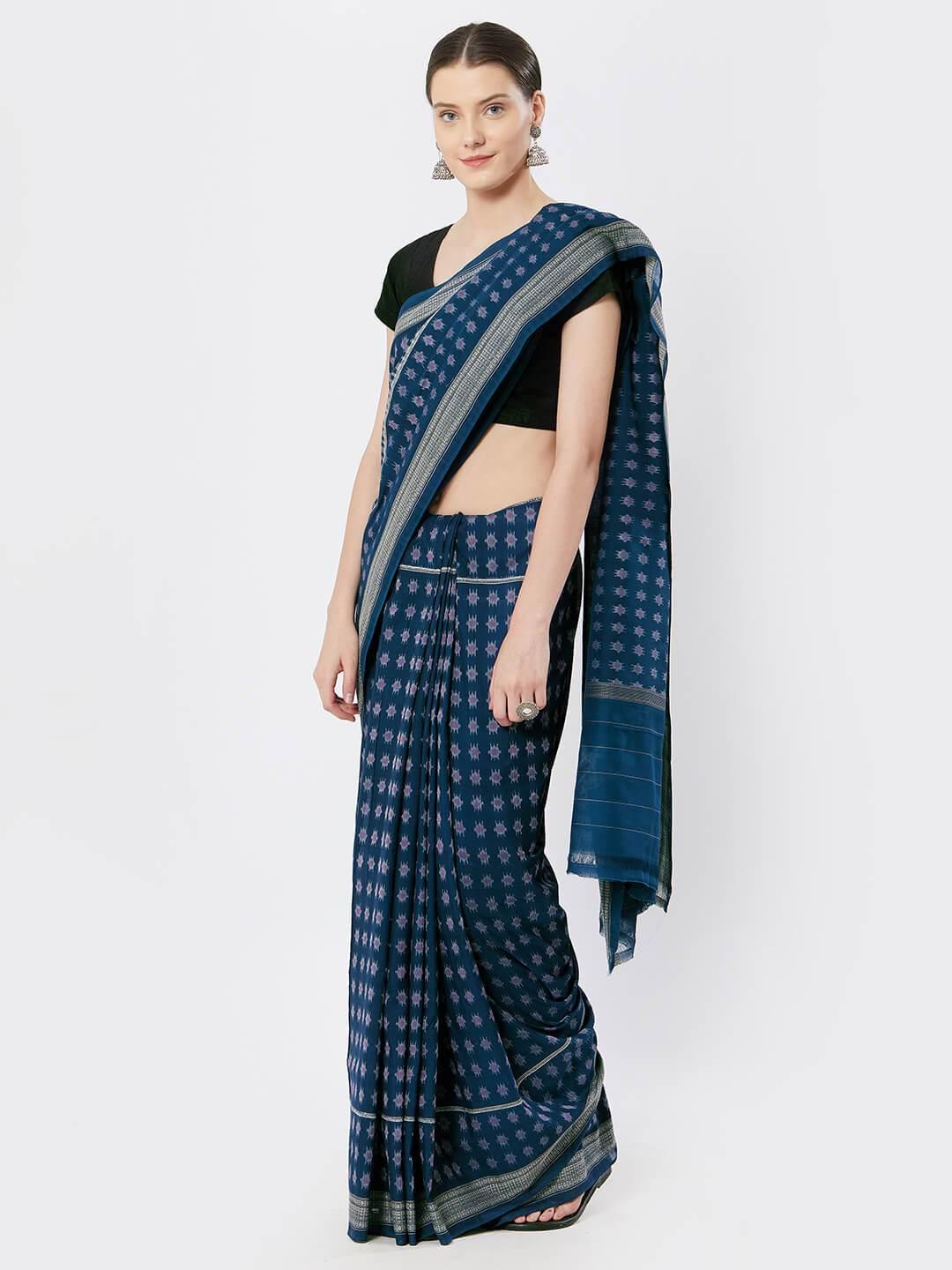 CraftsCollection.in - Blue Sambalpuri Cotton Saree