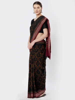 CraftsCollection.in - Green Sambalpuri Bomkai Cotton Saree