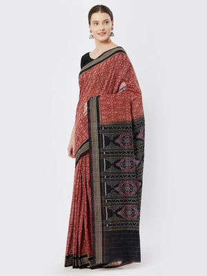 CraftsCollection.in - Pink Sambalpuri Bomkai Cotton Saree