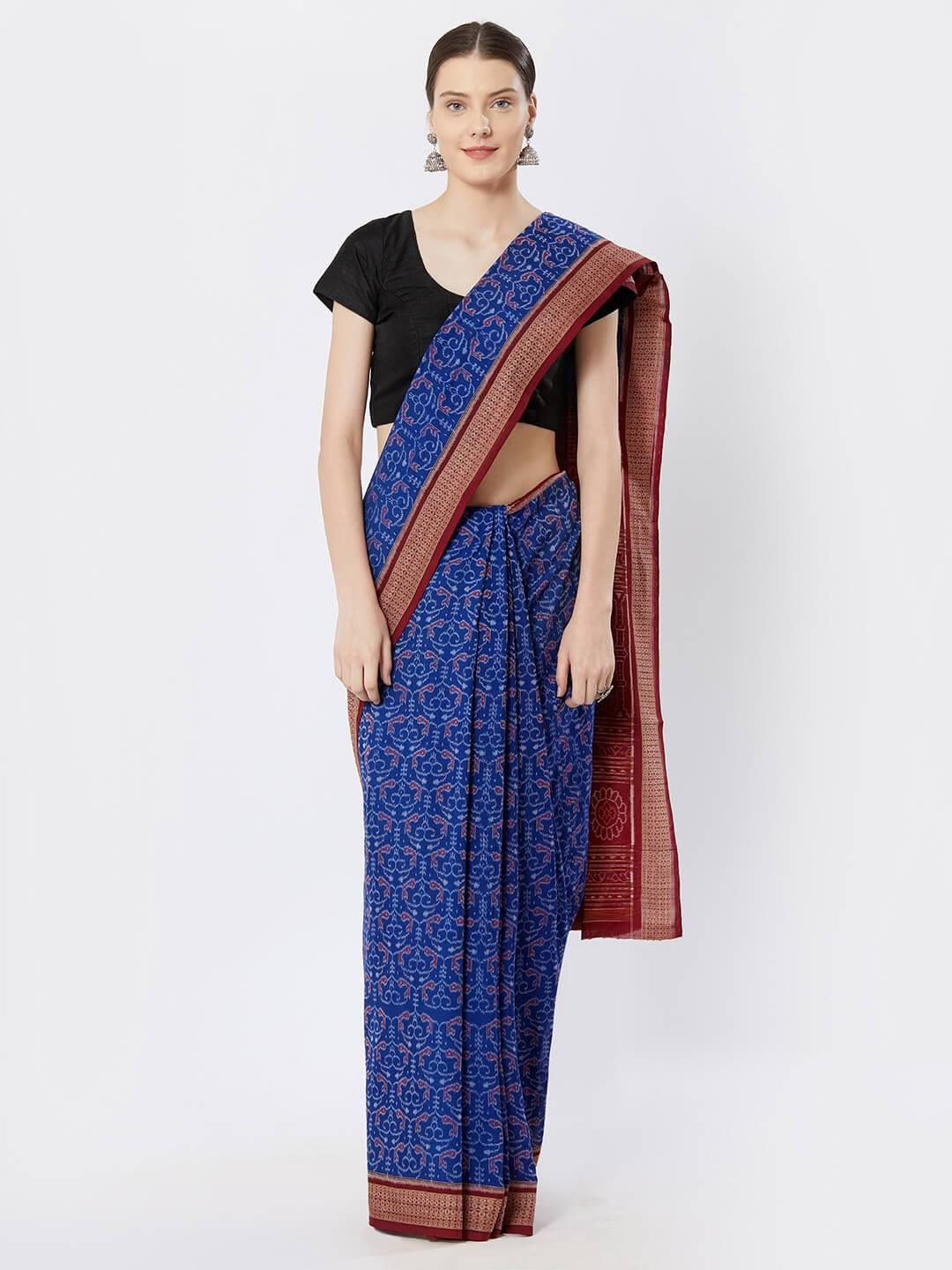 CraftsCollection.in - Blue Sambalpuri Bomaki Cotton Saree