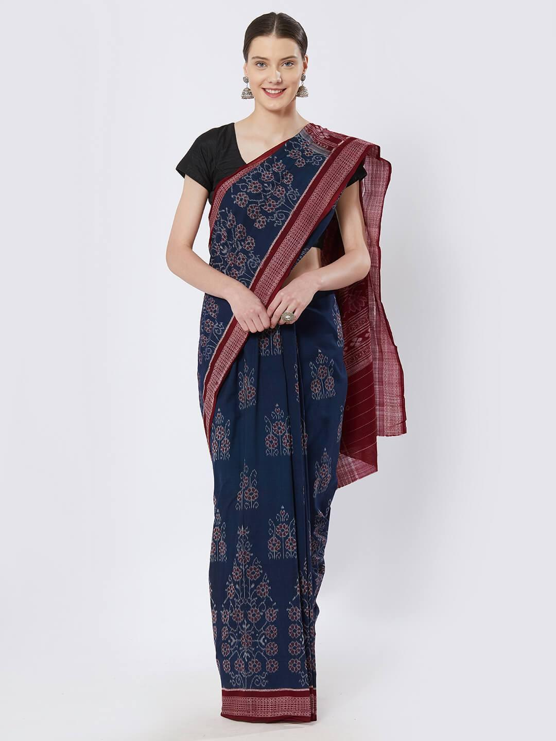 CraftsCollection.in - Blue Sambalpuri Double Ikat Cotton Saree