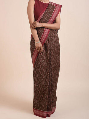 Brown Maroon Sambalpuri Cotton Saree