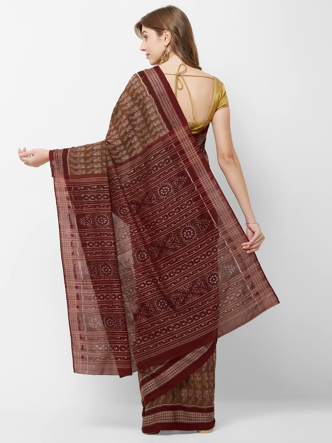 Brown and Maroon Sambalpuri Double Ikat Saree