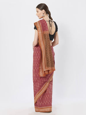 CraftsCollection.in - Pink and Rust Sambalpuri Bomkai Cotton Saree