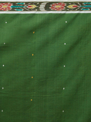 CraftsCollection.in -Green Cotton Sambalpuri Saree with matching Sambalpuri Blouse