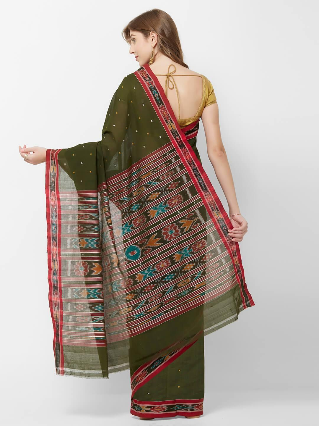 CraftsCollection.in -  Green odisha Cotton Saree with matching Sambalpuri Blouse