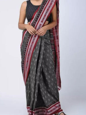 Grey and Red Sambalpuri Ikat Cotton Saree