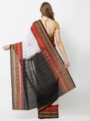CraftsCollection.in -  Offwhite Cotton Orissa Sachipar Saree