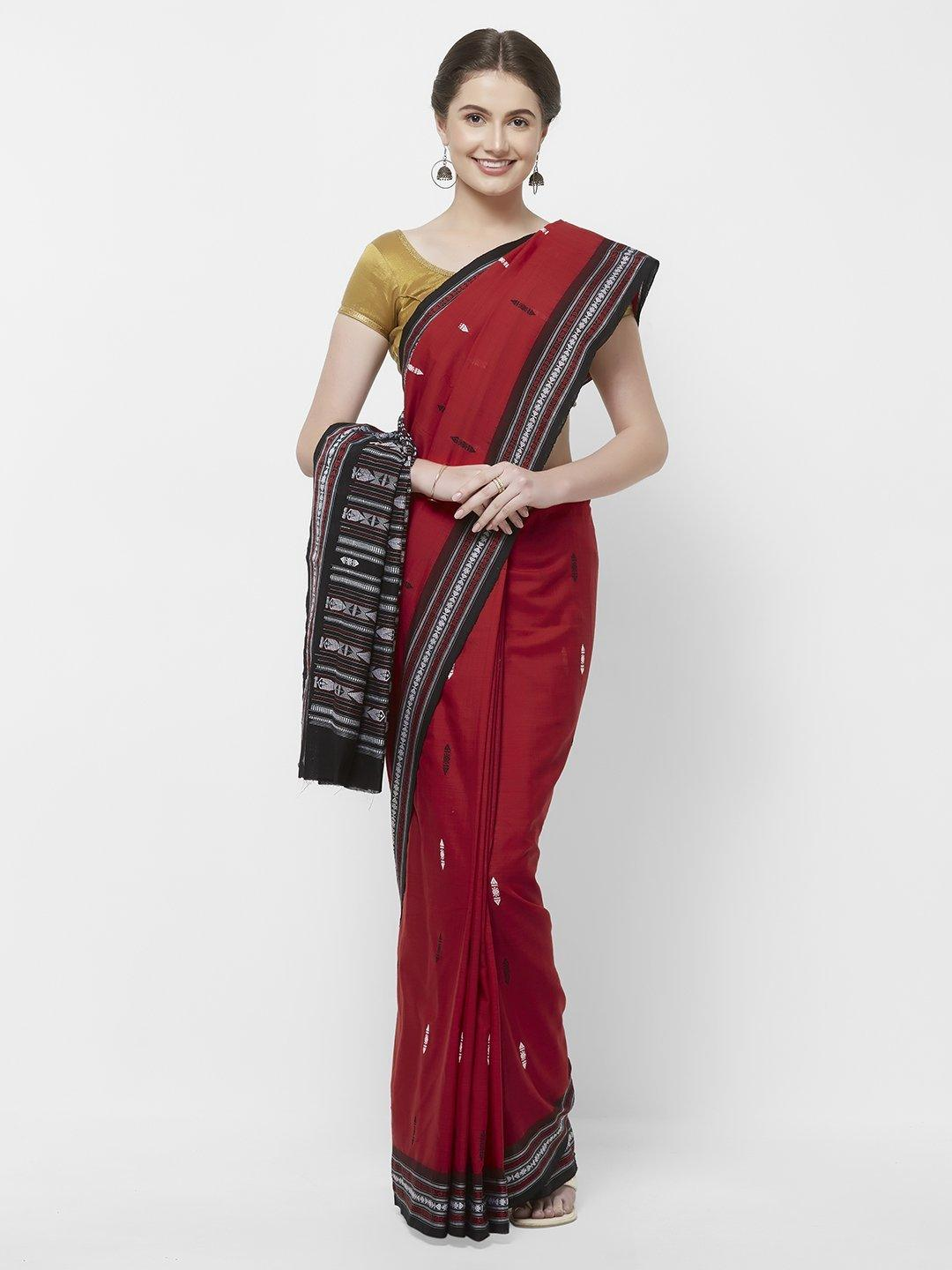 CraftsCollection.in -Red Odisha Cotton Sambalpuri Saree