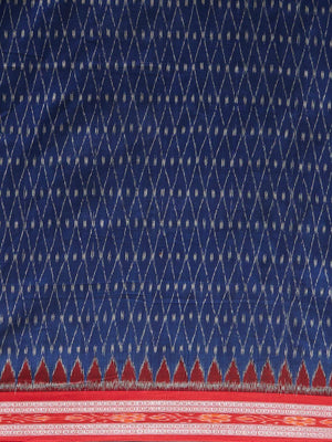 CraftsCollection.in - Blue and Red Sambalpuri Ikat Cotton Saree