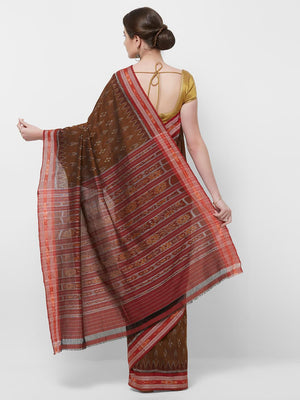 CraftsCollection.in -Brown and Red Sambalpuri Ikat Cotton Saree