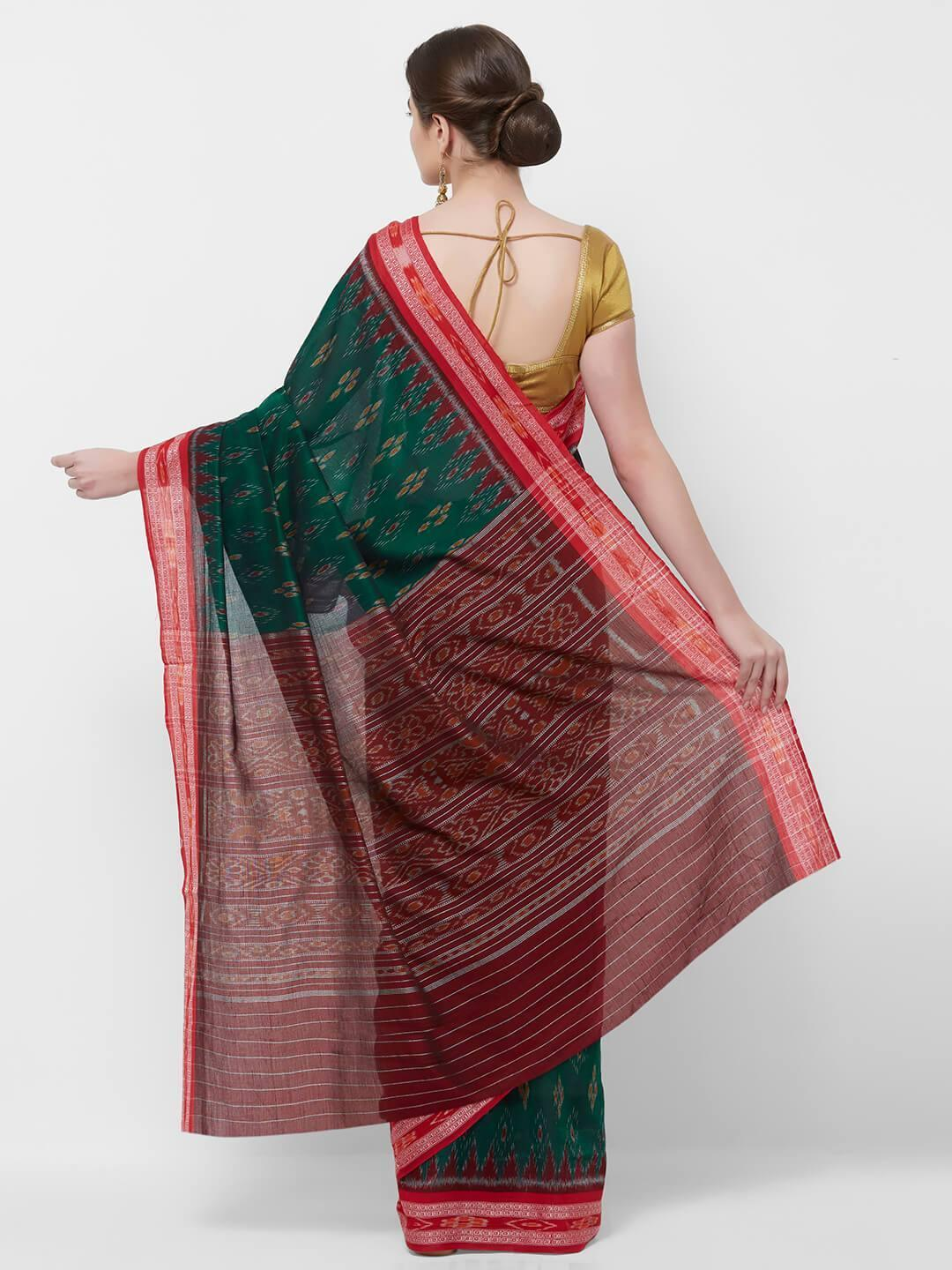 CraftsCollection.in -Green and Red  Sambalpuri Ikat Cotton Saree