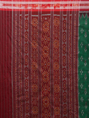 CraftsCollection.in - Green and Red Sambalpuri Ikat Cotton Saree