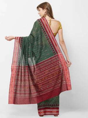 CraftsCollection.in - Grey and Red Sambalpuri Ikat Cotton Saree