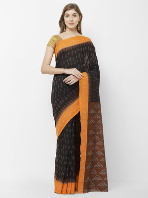 CraftsCollection.in - Black & Yellow Sambalpuri Ikat Cotton Saree