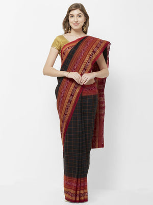 CraftsCollection.in - Black Odisha Cotton Sachipar Saree