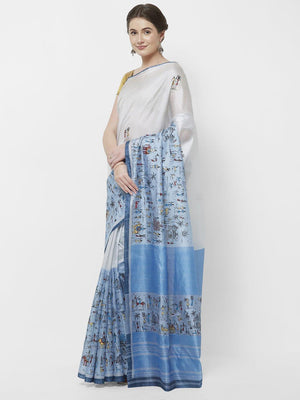CraftsCollection.in -White and Blue Chanderi Saree with handpainted Tribal motifs