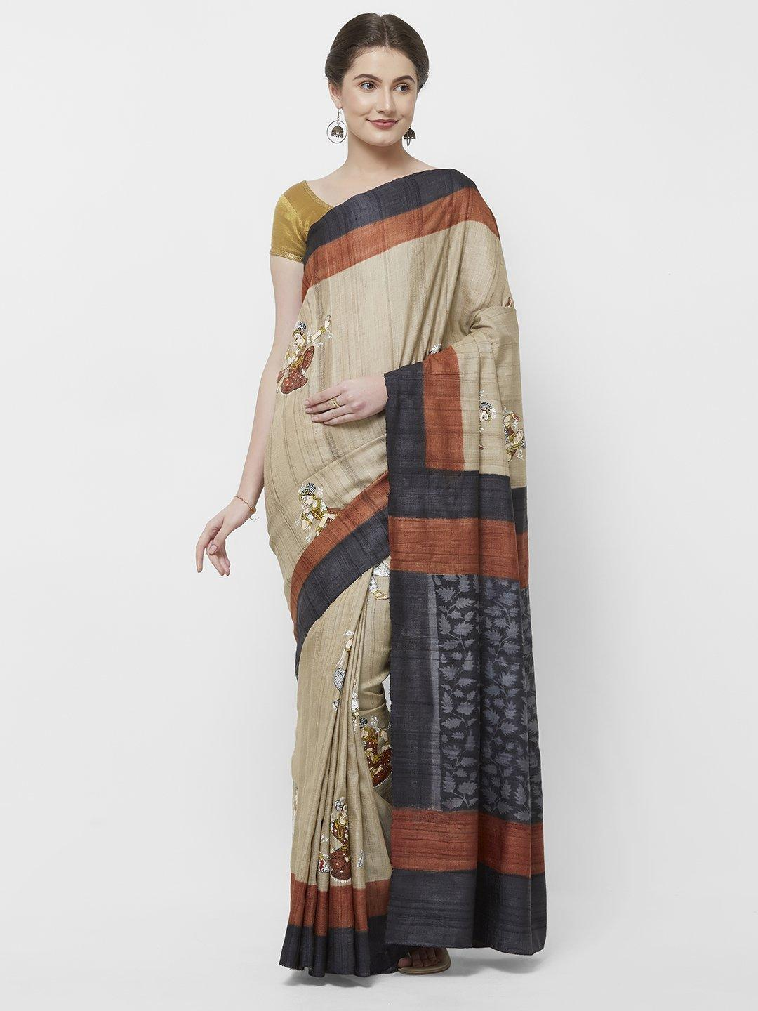 CraftsCollection.in -Beige Tussar Silk Saree with Handpainted Pattachitra motifs