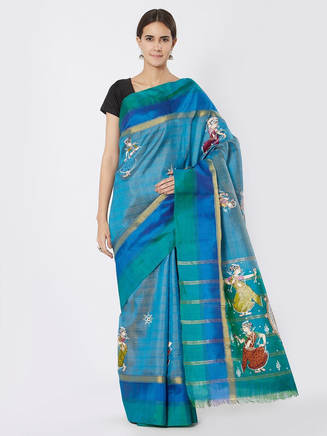 CraftsCollection.in - Blue Upada Silk with Pattachitra motifs