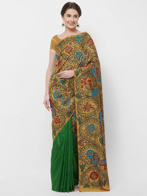 CraftsCollection.in -Double colour Pure Silk saree with handpainted Kalamkari art