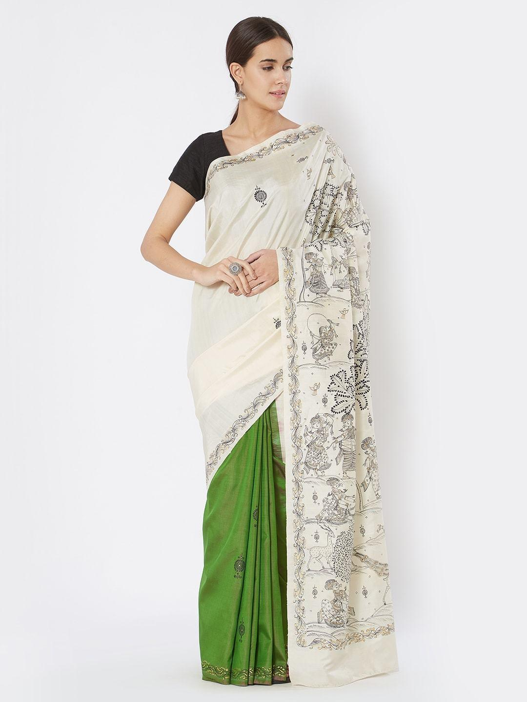 CraftsCollection.in - Green White Silk Saree with Pattachitra Motifs