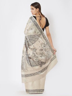 Beige Tussar Silk Saree with Pattachitra Motifs
