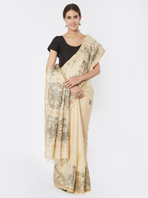 CraftsCollection.in - Beige Tussar Silk Saree with Pattachitra Motifs