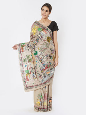 CraftsCollection.in - Beige Tussar Silk Saree with Tribal Motifs and Ikkat Blouse