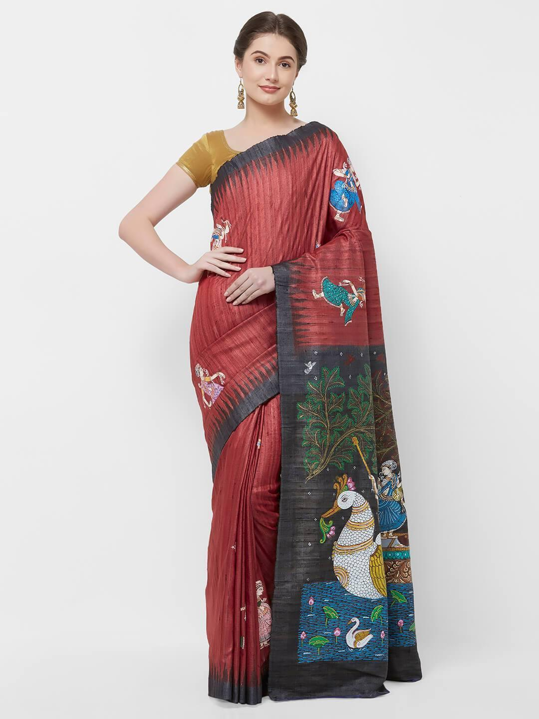 CraftsCollection.in -Red Tussar Ghicha Silk with handpainted Pattachitra Motifs