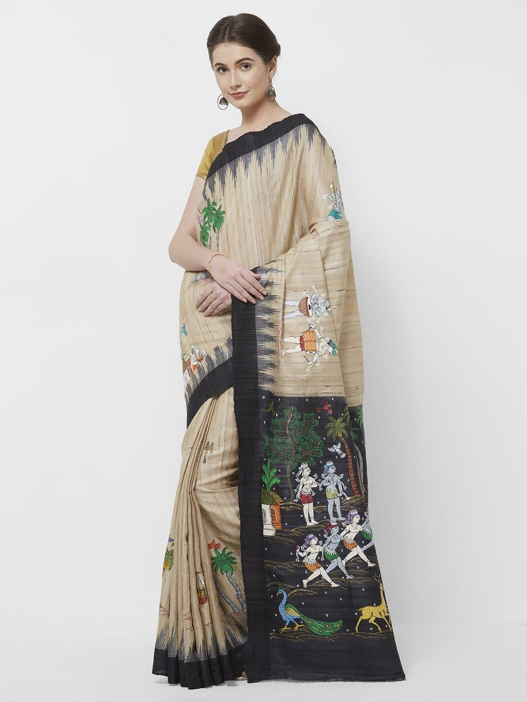 CraftsCollection.in -Beige Tusssar Ghicha Silk with handpainted Tribal art