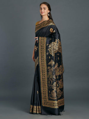 CraftsCollection.in - Black Silk Saree with handpainted Pattachitra motifs