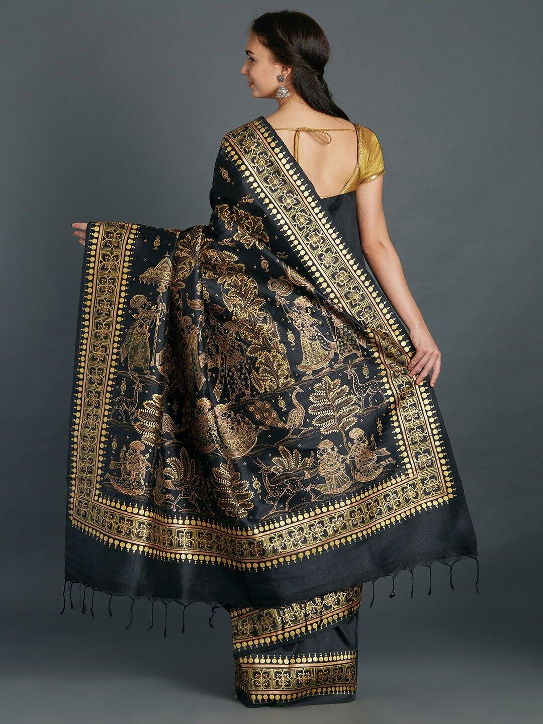 Black Silk Saree with handpainted Pattachitra motifs