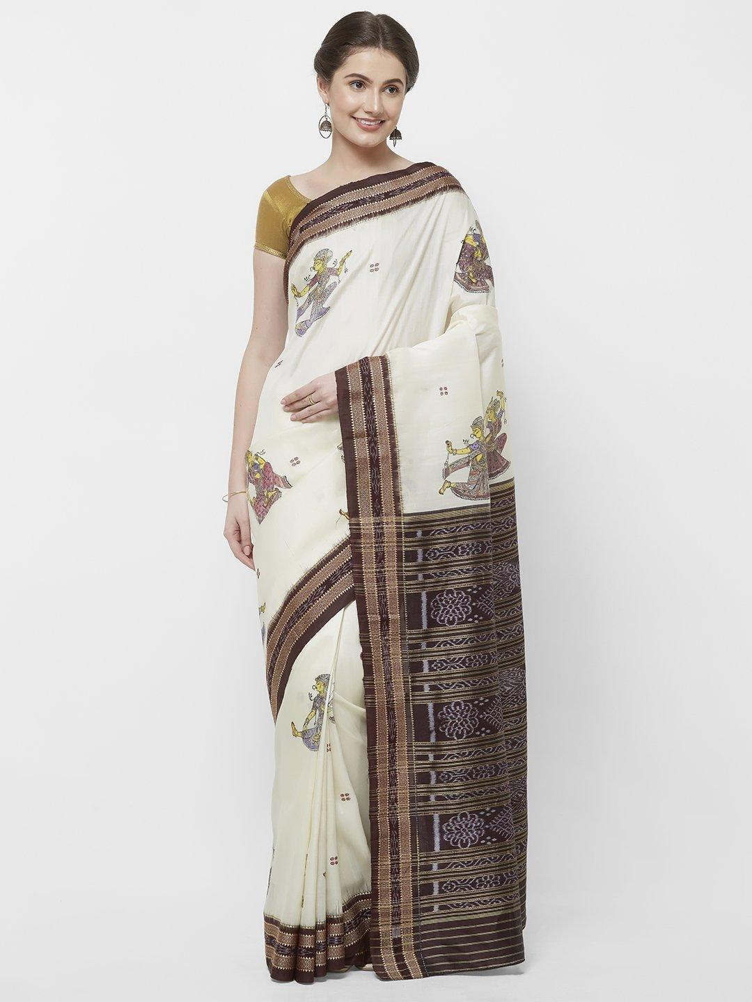 CraftsCollection.in -Offwhite Odisha Sambalpuri Silk Saree with Pattachitra motifs