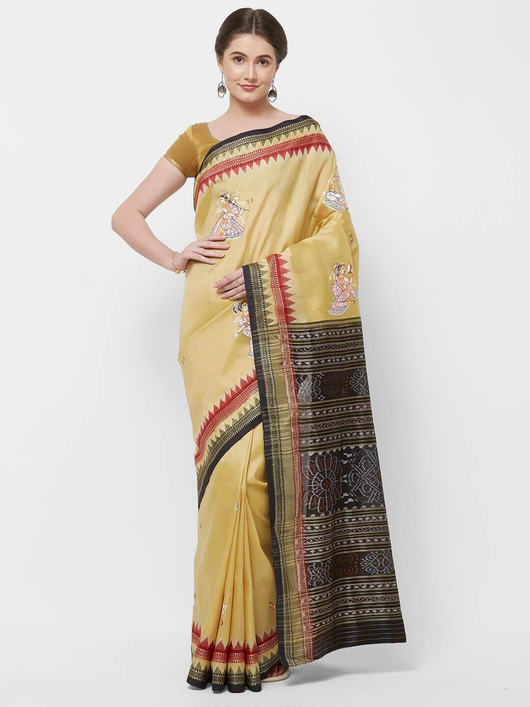 CraftsCollection.in -Cream  Odisha Samablpuri Silk Saree with handpainted Pattachitra motifs
