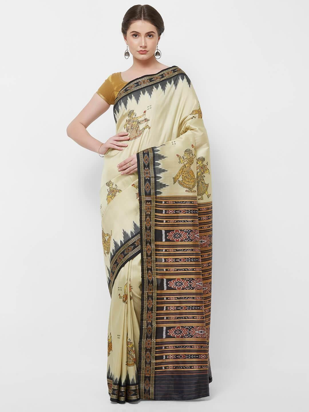 CraftsCollection.in -Cream Odisha Sambalpuri Silk Saree with Pattachitra motifs