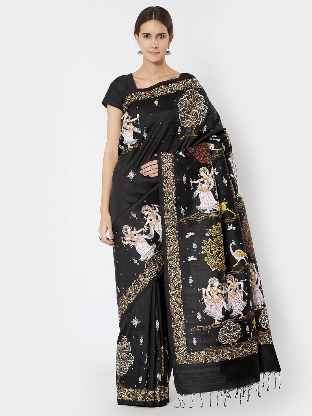 CraftsCollection.in - Black Tussar Silk Saree with Pattachitra Motifs