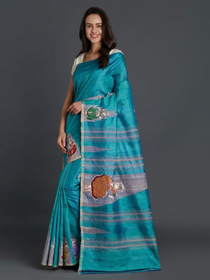 CraftsCollection.in - Blue Tussar Silk Saree with handpainted Pattachitra motifs