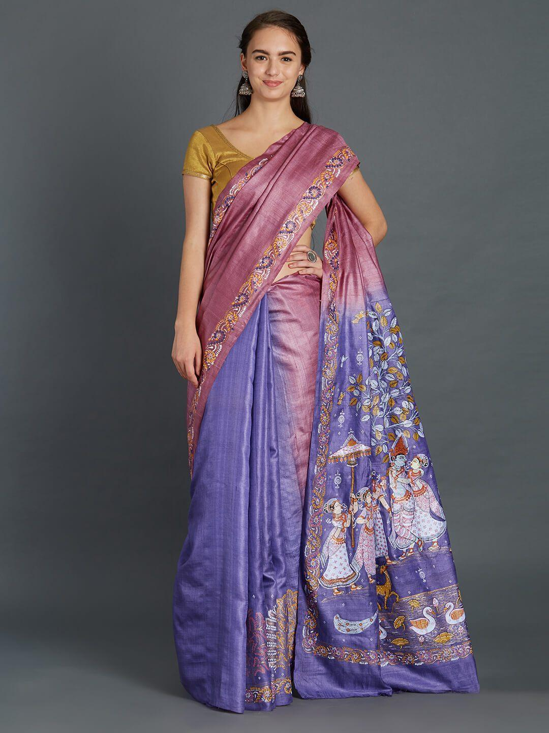 Tussar Silk Saree with handpainted Pattachitra motifs