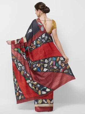 CraftsCollection.in -HandBlock Tussar Saree with handpainted Pattachitra motifs