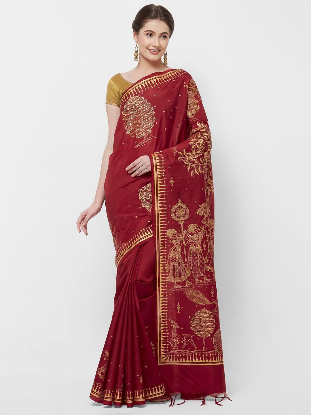 CraftsCollection.in -Red Pure Silk Saree with handpainted Pattachitra motifs