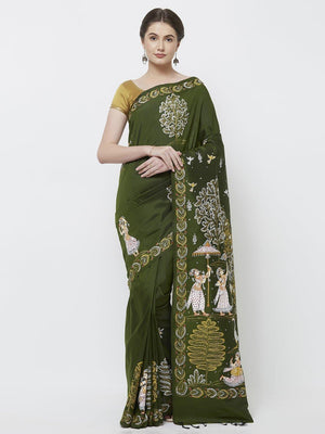 CraftsCollection.in -Green Pure Silk Saree with handpainted Pattachitra motifs