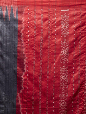 CraftsCollection.in - Black and Red Tussar Silk Sambalpuri Saree