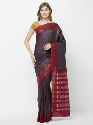 CraftsCollection.in - Brown and Red Tussar Silk Sambalpuri Saree