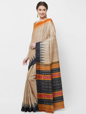 CraftsCollection.in -Beige Gangajamuna Tussar Silk Sambalpuri Saree