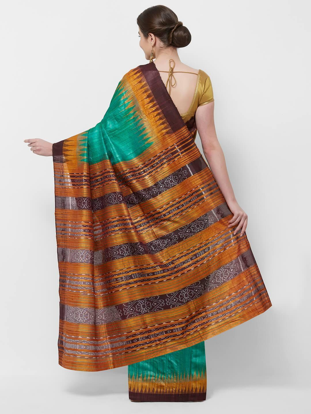 CraftsCollection.in -Green Double Border Tussar Silk Sambalpuri Saree