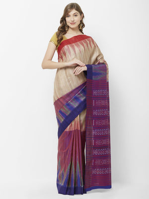 CraftsCollection.in - Beige Purple half half Tussar Silk Sambalpuri Saree